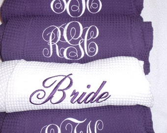6 Personalized Robes Waffle weave Monogram, Name, Titles Wedding party robes Bride, Maid of Honor, Bridesmaids robes, Flower girl robe Cute!
