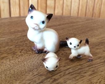 REDUCED Hagen renaker siamese kitten family 3 pieces