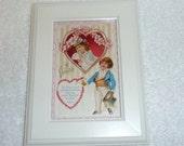 Antique Victorian Valentine Postcard Vintage Lace White Frame Pink Blue Hearts Flowers Children Boy Girl Love