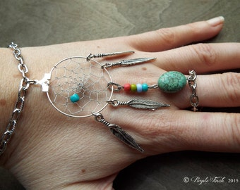 Peace Catcher Teal Howlite Agate Bohemian Dreamcatcher  Bracelet Stone Hippie Tribal Silver Native American Inspired