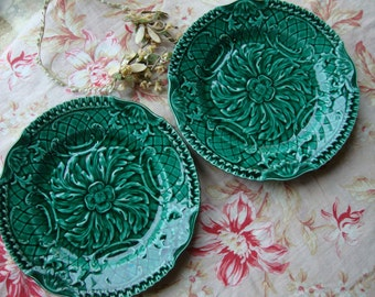 PAIR of Antique French Green Leaf Plates, 'Sarreguemines' style, Gorgeous Green Ceramic, Paris Apartment Chic Dining Display