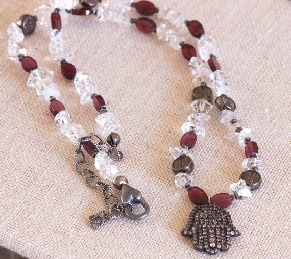 Herkimer Diamond Hamsa Necklace