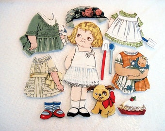 Child's  Fabric Paper Doll playset  travel church toy  Penny Rose Bakery Megan