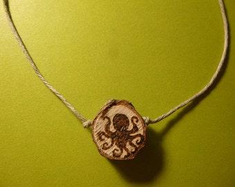 Octopus Wood Slice Pendant