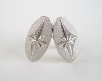 Vintage Silver Cuff Links Oval Starburst
