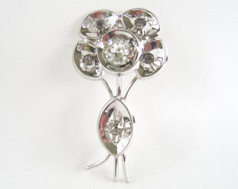 Vintage Silver & Rhinestone Flower Brooch Large Floral Statement Pin