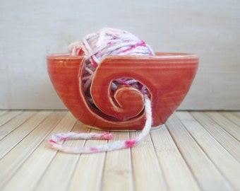 Yarn Bowl Knitting Holder Handmade Ceramic Rustic Pottery Great Gift for Knitters Ready to Ship Made in USA