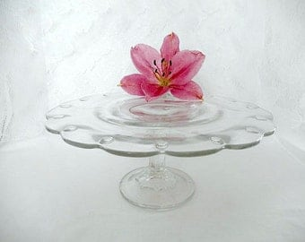 pedestal cake stand, glass cupcake stand, 11 inches, serving, party, wedding, clear glass, Indiana glass