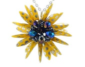 Yellow and Black Handmade Flower Pendant Necklace, Susan