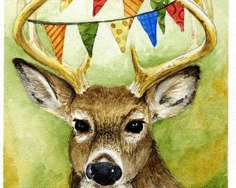 Oh Deer!, watercolor 5x7  giclee print