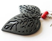 Black Wooden Leaf Charms with Red Magnesite Stone Bead Earrings
