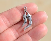 10 Silver  Chili Pepper Charms SC3467
