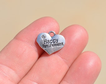 5 Silver Happy Retirement Heart Charms SC3762