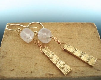 Faceted Pink Quartz Cube and Bronze Metal Clay Earrings