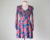 70s cherry blossom floral print rayon smocked long sleeve mini dress (s - m)