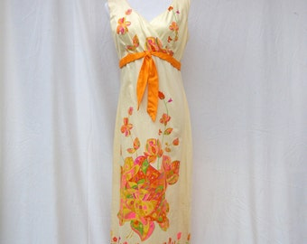60s Hawaiian Maxi Dress size Small to Medium Psychedelic Floral