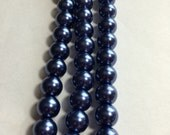 "Navy Blue Glass Round Pearls  4,6 and 8mm -15"" strand"