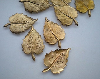 12 brass leaf charms, No. 6