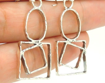Sterling silver earrings circles and squares