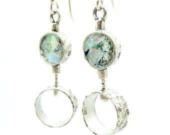 2 circle silver earrings with roman glass