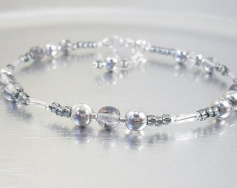 Beaded Ankle Bracelet - Silver Mirrored Glass and Black Diamond Silver Lined Glass Anklet