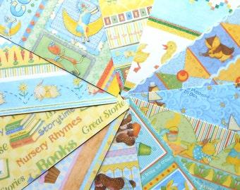 DESTASH - Joann: Nursery Rhymes  Bunnies - Pack of 11 Different Scrapbook Papers, 6 inch X 6 inch
