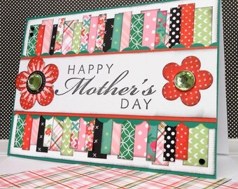 Mother's Day Card with Matching Embellished Envelope - Spring Stripes