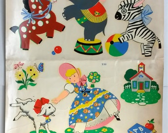 """CIRCUS ANIMALS NURSERY rhyme decal, traditional childhood decor, ready to frame and hang, 12 1/2"""" by 14 3/4"""" inches, vintage 1950s, kitschy"""