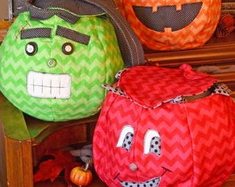 Halloween Trick or Treat bags Sewing Pattern PDF download character buckets, holiday decor
