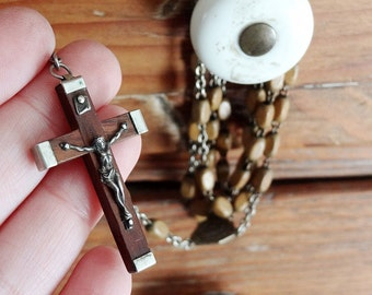 vintage rosary from France with black wood beads and crucifix (no.19)