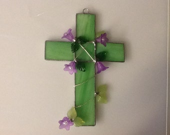Stained Glass Cross with Lucite Flowers and glass leaves.