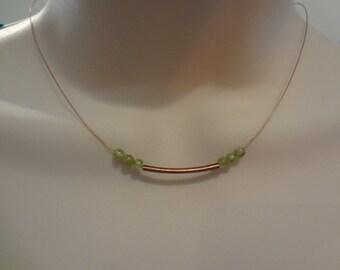Dainty copper tube necklace sleek minimal necklace birthstone necklace