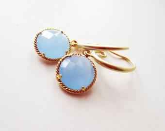 Chalcedony blue earrings.  Blue gold earrings. Framed glass earrings. Baby blue earrings. Periwinkle earrings.  Light blue jewelry.