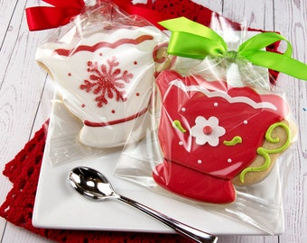 Tea cup cookies, As Seen in Tea Time Magazine  - 12 Decorated Sugar Cookie Favors