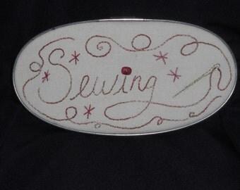 Sewing decoration, sewing hoop art, vintage hoop, sewing sign, embroidered metal hoop
