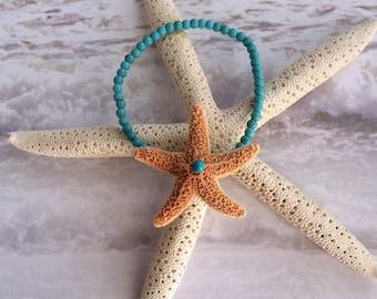 Wrist Corsage Bracelet - Tropical Star Sugar Starfish and Turquoise Wrist Corsage Bracelet