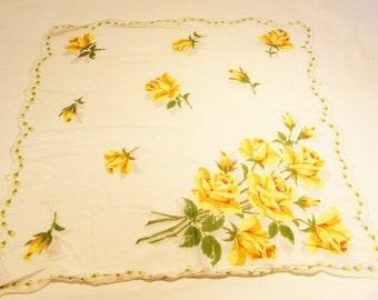 Hanki flower print cotton vintage 50s handkerchief yellow roses