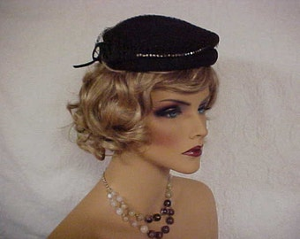 Brown wool fascinator hat with veil and row of rhinestones across the front
