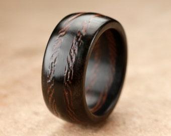 Size 8.25 - Ebony Wenge Wood Ring - 10mm