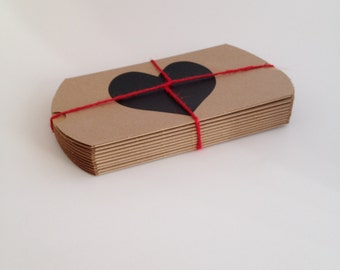6 Chalkboard Heart Kraft Pillow Boxes, Valentines Day Gift Boxes, Wedding Favors