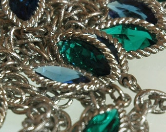 Multichain Bib Necklace, 5 Strands, Jewel Blue & Green Navette Links, Silver Plated, Figaro Chains, Retro, Excellent Condition