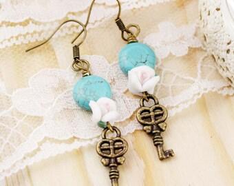 Friendship key dangle earrings - turquoise, clay flower and key charm