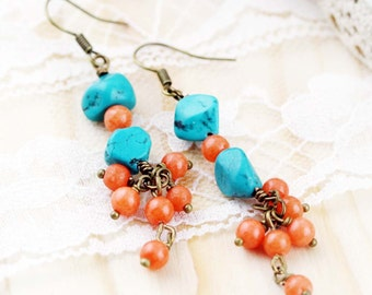 Friendship and generosity earrings - turquoise and quartzite