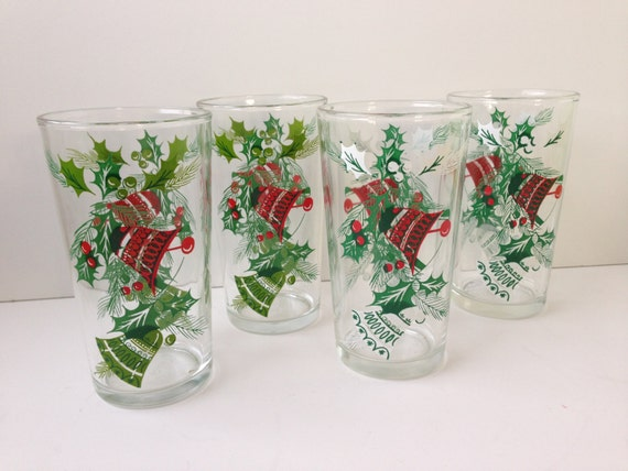 Holiday drinking glasses set of four hazelware tumblers