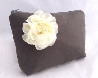 Cosmetic Gift Bag in Charcoal linen with ivory flower Gift for Bridesmaids- READY TO SHIP