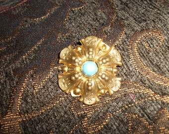 Vintage Made In France Blue Glass Cabochon Fur Clip