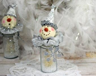 Glass Bottle Jar Snowman Bristle Brush Tree Christmas Holiday Decoration Snowflake Clown