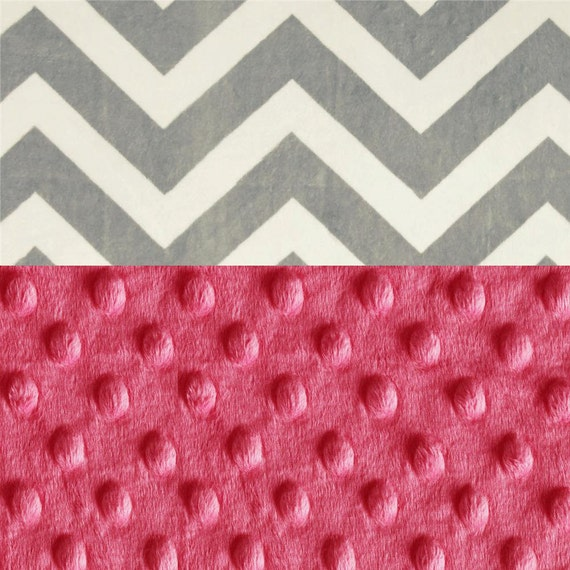 Gray Chevron Minky Baby Blanket,  Personalized Pink Fuchsia & Silver Gray Chevron Stroller Girl - Nursery Decor Girl / Baby Shower Gift