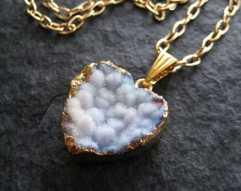 SALE - Little Tender Blue Druzy Heart Shaped Agate Pendant Necklace
