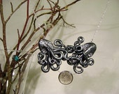 Hold On Tight Steampunk Octopus Necklace, Polymer Clay, Best Friends Jewelry